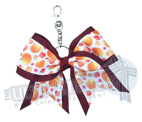 Sweet Pumpkin Key Chan Bow | Cheer Bows | Cheer Key Chain Bows | Halloween Bows | Maroon Key Chain
