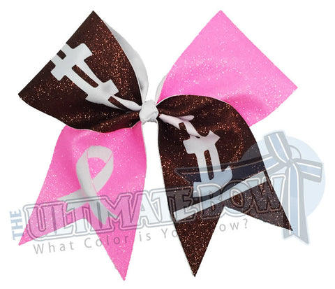 Tackle Breast Cancer Full Glitter Bow