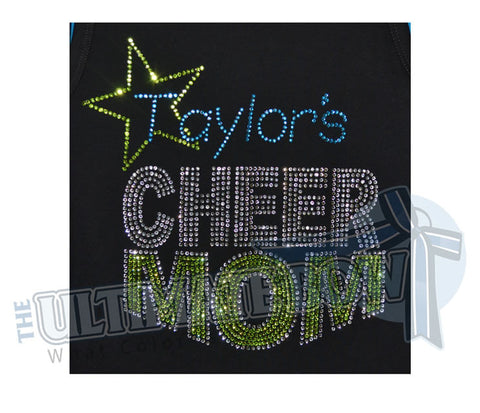 All Star Rhinestone Cheer Mom T-Shirt - Any Team/Individual Name