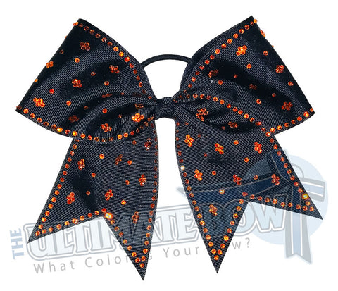 Taylors Tears Rhinestone Cheer Bow | Rhinestone ribbon grosgrain | Black Cheer Bow | Black and Orange Cheer bow | Orange Rhinestones