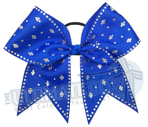 Taylors Tears Rhinestone Cheer Bow | Rhinestone ribbon grosgrain | Electric Blue Cheer Bow | cheer-bow