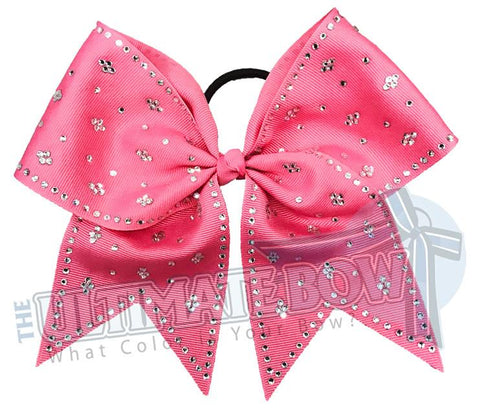 Taylors Tears Rhinestone Cheer Bow | Rhinestone ribbon grosgrain | Hot Pink Cheer Bow | cheer-bow