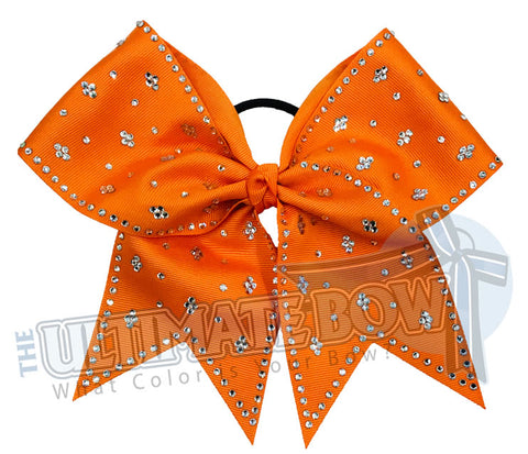 Taylors Tears Rhinestone Cheer Bow | Rhinestone ribbon grosgrain | Orange Cheer Bow | cheer bow | Football Cheer Bow