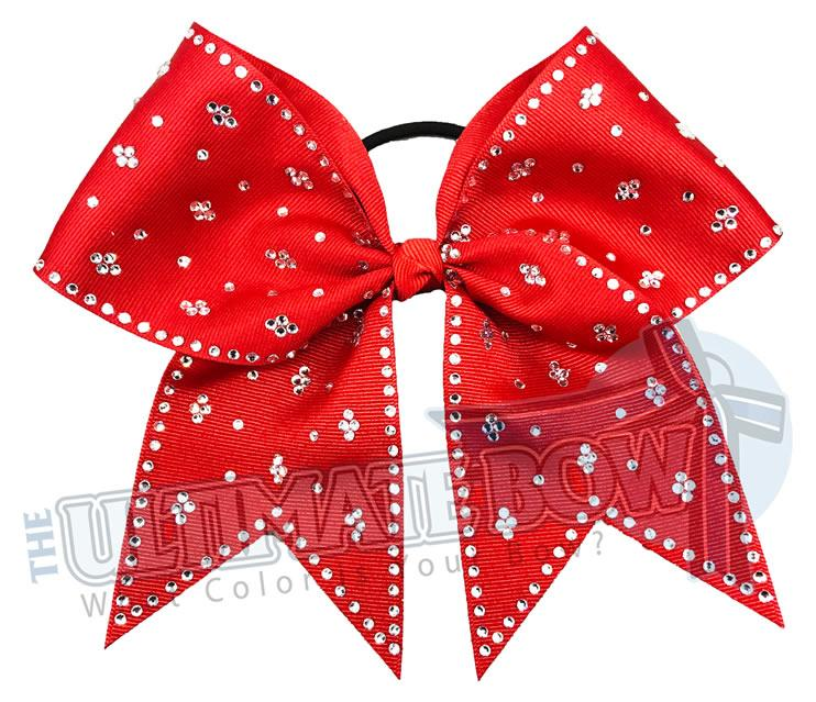 Taylors Tears Rhinestone Cheer Bow | Rhinestone ribbon grosgrain | Red Cheer Bow | cheer-bow