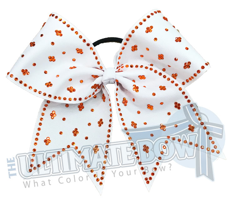 Taylors Tears Rhinestone Cheer Bow | Rhinestone ribbon grosgrain | White Rhinestone Cheer Bow | White and Orange Cheer bow | Orange Rhinestones