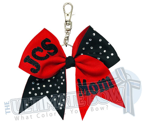 Team Mom Key Chain Bow | Mom Rhinestone Glitter Tick Tock Key Chain Bow | Team Mom Key Chain Bow | Mother's Day Gifts | Red Black Key Chain Bow