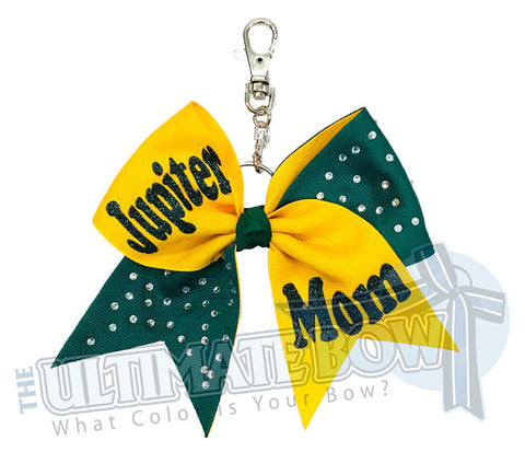 Team Mom Key Chain Bow | Mom Rhinestone Glitter Tick Tock Key Chain Bow | Team Mom Key Chain Bow | Mother's Day Gifts | Yellow Gold | Forest Green | Jupiter High School Mom