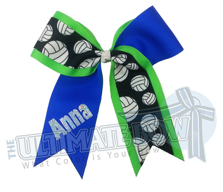 team-volleyball-hair-bow-electric-blue-neon-green-personalized