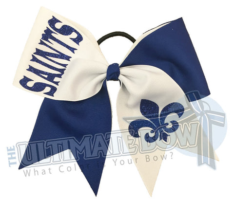 tick tock cheer bow - royal blue- white - fleur de lis glitter cheer bow - fleur de lis cheer bow - mardi gras bow - cheerleading hair bow - Saints cheer bow - New Oreans hair bow