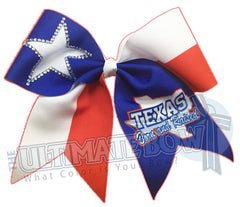 Texas Cheer Bow - Texas Cheerleader - Born and Raised - Rhinestone Star - Texas Flag - Red White Blue