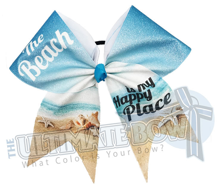 Beach Cheer Bows | Summer Cheer Bows | Sublimated Cheer Bows | Florida-Beach-ocean-summit-cheer-worlds-travel-beach