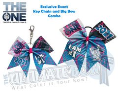 The ONE Cheer and Dance Finals | 2021 The ONE Event Glitter Cheer Bow | Special Event Bow | Glitter Event Key Chain | Glitter Event Big Bow
