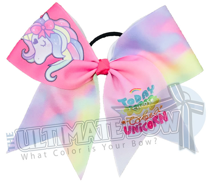 Today I Choose to be a Unicorn | Unicorn Cheer Bows | Rainbow Cheer Bows | Pink Unicorn Cheer Bow