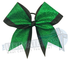 Top Down Full glitter cheer bow | emerald green glitter black glitter cheer-bow-glitter | varsity cheer | softball-school-recreational-cheer