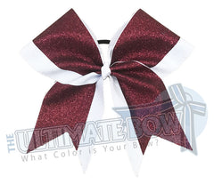 Top Down Full glitter cheer bow | maroon glitter white glitter cheer-bow-glitter | varsity cheer | softball-school-recreational-cheer