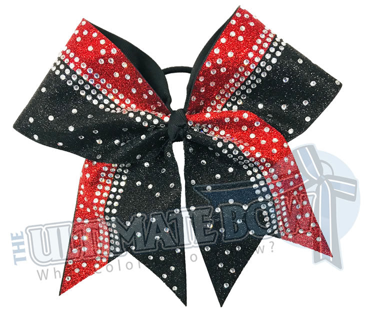 Red and Black Glitter Cheer Bow | Rhinestone and Glitter Cheer Bow | Competition Glitter Cheer Bow
