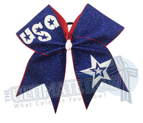 USA 4th of July cheer bow full-glitter-personalized-cheer-bow-USA - Cheer Bow - Red White and Blue