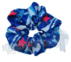 USA Camouflage Scrunchies | Patriotic scrunchies | Team USA Scrunchies | Blue Camouflage Material Scrunchies | Cheer Scrunchies | Gymnastics Scrunchies