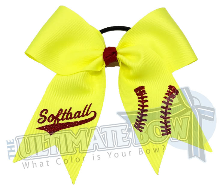 ultimate-softball-bow-ansi-yellow-red-hairbow-laces- softball hair bow - team softball bows