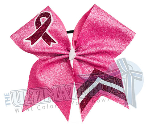 Varsity Awareness Glitter Cheer Bow | Pink Cheer Bow | Chevron Cheer Bow | Breast Cancer Cheer Bow