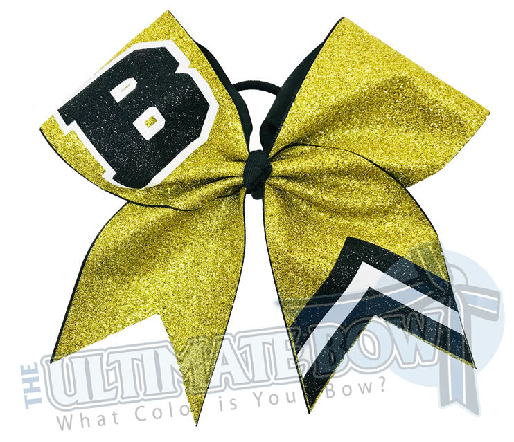 Varsity Cheer Letter Cheer Bow | High School Cheer Bow | Bears Cheer Bow | Bulldogs Cheer Bow | Black and Yellow Cheer Bow
