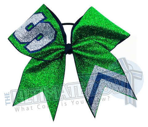 full-glitter-varsity letter - School Initial S - glitter Chevron-emerald-navy-grey - cheer bow-glitter-varsity-cheer-softball-school-recreational-cheer