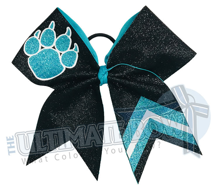 Victory Paws Glitter Cheer Bow | Teal and Black Paw Print Bow | Chevron Cheer Bow