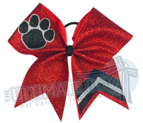 Victory Paws Glitter Cheer Bow | Red and Black Paw Print Bow | Chevron Cheer Bow | Paw Print Glitter Cheer Bow