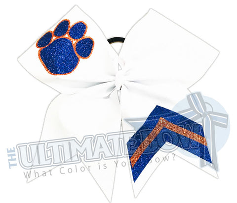 Victory Paws Glitter Cheer Bow | Orange and Royal Blue Paw Print Bow | Chevron Cheer Bow | Paw Print Glitter Cheer Bow