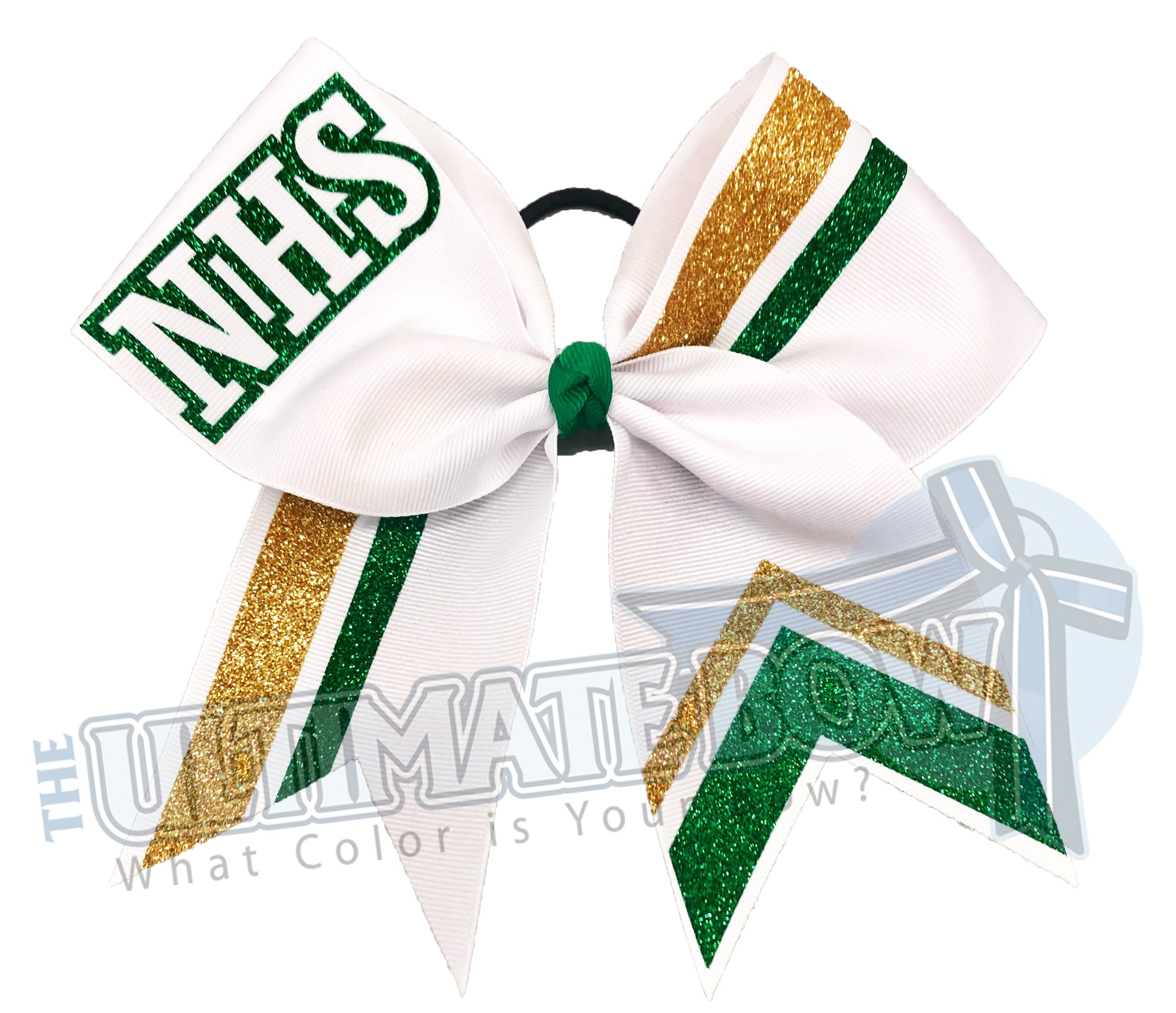 NHS-glitter-stripes-Gold emerald glitter white-cheer-bow-glitter-varsity-cheer-softball-school-recreational-cheer