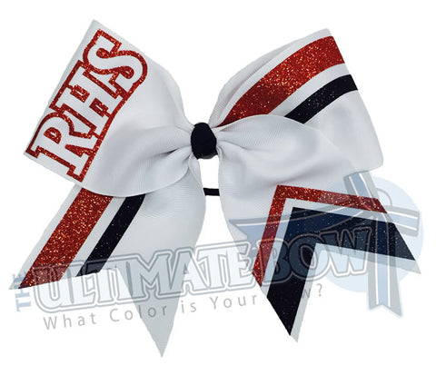 RHS-glitter-stripes-orange-black-white-cheer-bow-glitter-varsity-cheer-softball-school-recreational-cheer