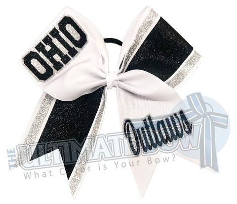 High School Cheer | Recreational Cheer | Silver Black White | Cheer Bow | Football Cheer Bow | glitter-stripes-cheer-bow-glitter-varsity-cheer-school-cheer | Softball