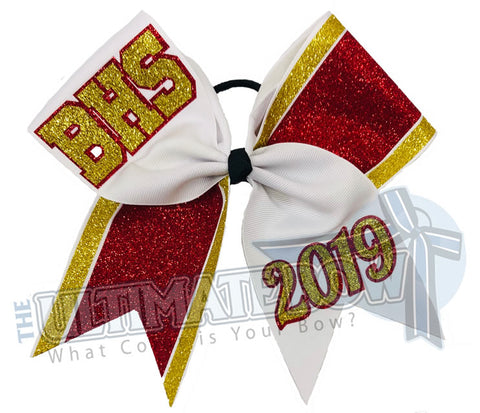BHS-glitter-stripes-red-gold-white-cheer-bow-glitter-varsity-cheer-softball-school-recreational-cheer