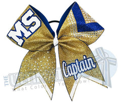 Victory Varsity Cheer Bow | Rhinestone and Glitter Cheer Bow | Personalized Cheer Bow | Royal Blue and Gold | Captain Bows