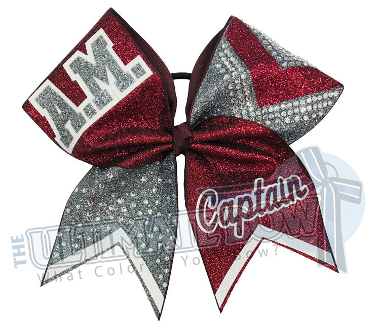 Victory Varsity Cheer Bow | Rhinestone and Glitter Cheer Bow | High School Cheer Bow | Maroon and Grey