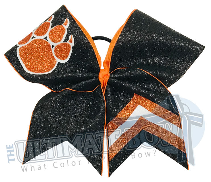Victory Paws Glitter Cheer Bow | Orange and Black Paw Print Bow | Chevron Cheer Bow