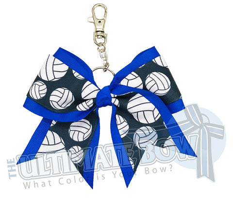 Electric Blue Volleyball Key Chain Bow | Volleyball Keychain | Volleyball Bows