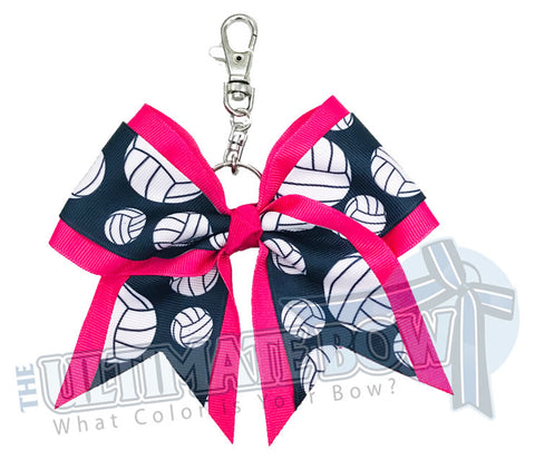 Hot Pink Volleyball Key Chain Bow | Volleyball Keychain | Volleyball Bows