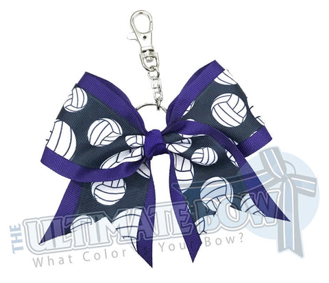 Purple Volleyball Key Chain Bow | Volleyball Keychain | Volleyball Bows