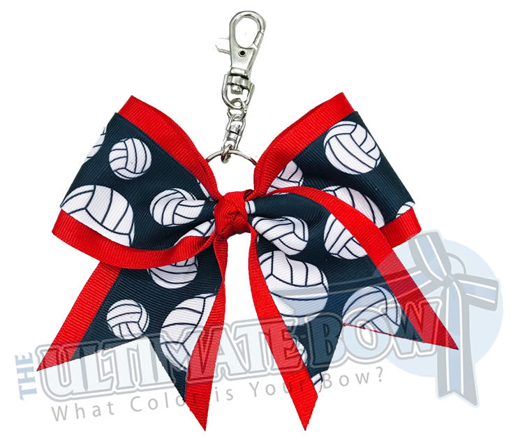 Red Volleyball Key Chain Bow | Volleyball Keychain | Volleyball Bows