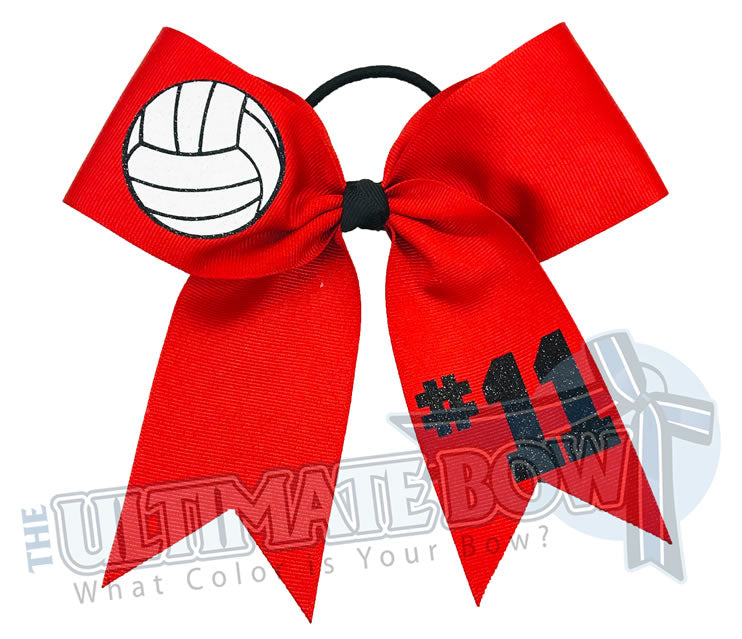 Volleyball Player Hair Bow | Volleyball Hit Hair Bow | Volleyball Bow | Custom Volleyball Hair Bows | Volleyball Player Volleyball Club | Red Hair Bow