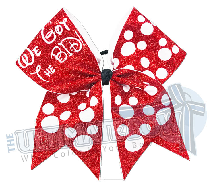 We got the Bid - We got paid - Full-glitter-mickie mouse polka-dots-cheer-bow-red-white-glitter-sparkle-minnie-disney - Orlando Travel Bow