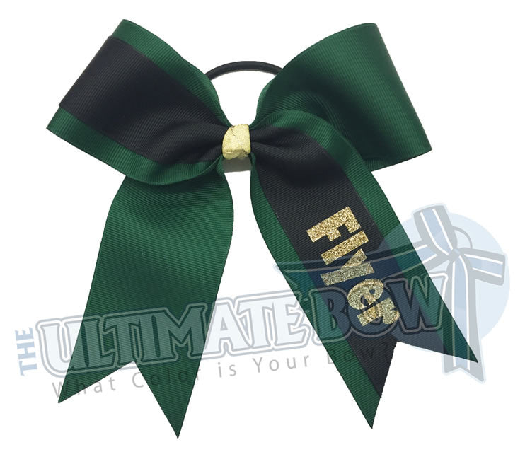 whats-my-name-cheer-bow-forest-green-black-Flyer-Softball