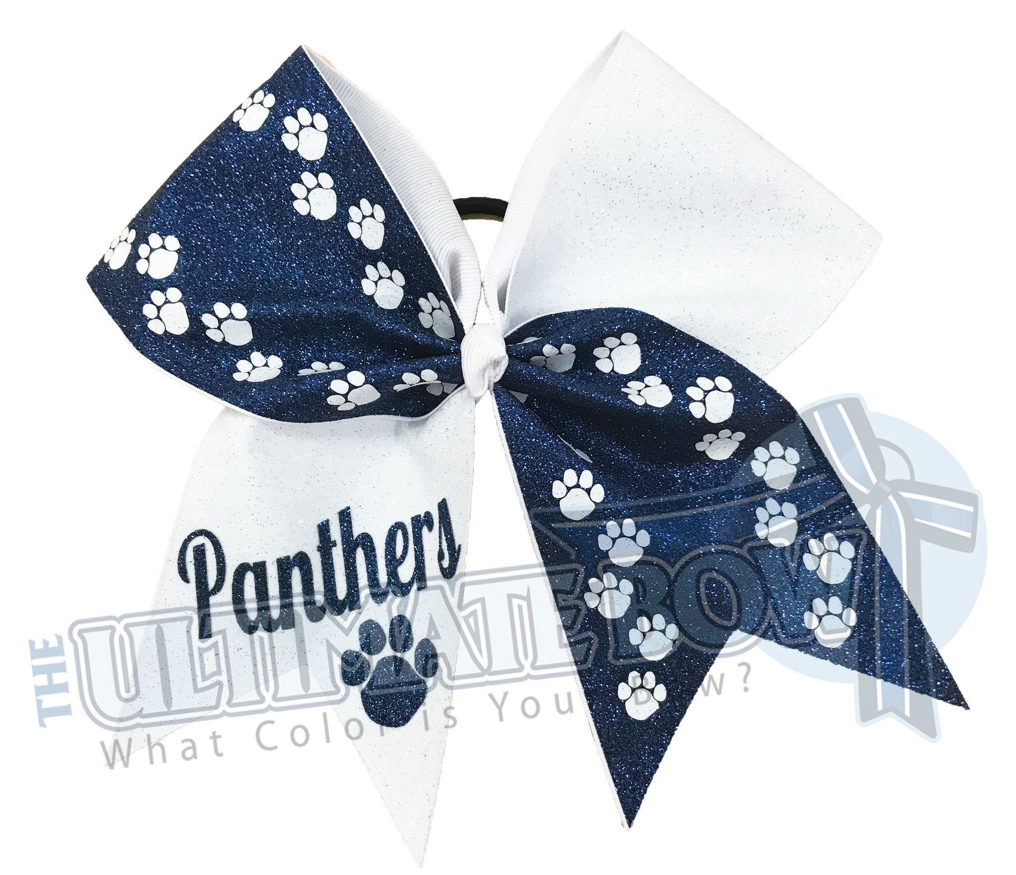 Wild Walk | Glitter paw print cheer-bow | Navy white glitter softball sparkle