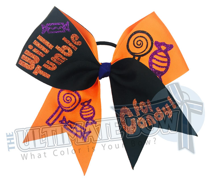 Will Tumble for Candy Halloween glitter-orange-black-texas-sized-halloween-cheer-bow-softball-bow-holiday-hair-bow