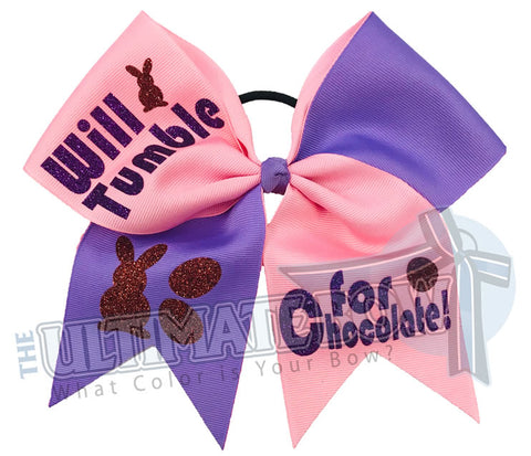 Will Tumble for Chocolate Easter glitter-pink -periwinkle -texas-sized-Easter-cheer-bow-softball-bow-holiday-hair-bow