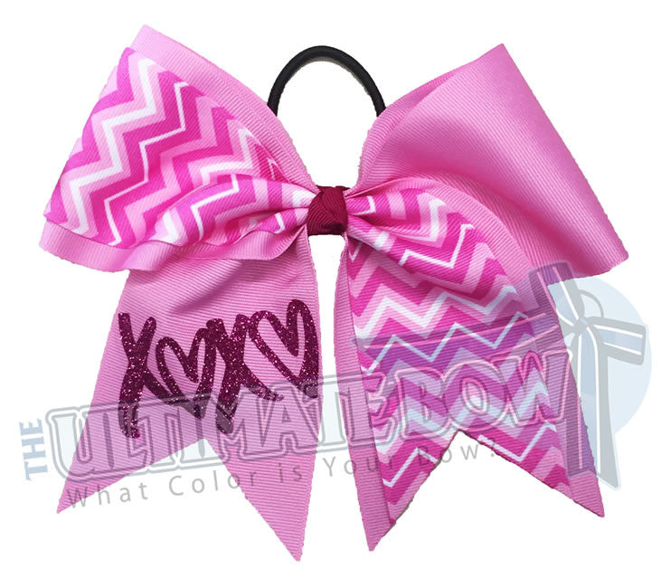 Chevron-Valentines-day- bow-glitter-XOXO-hugs_kisses-grosgrain-ribbon-texas-sized-cheer-bow-valentine-bow-softball-pixie-pink-chevron-trendy