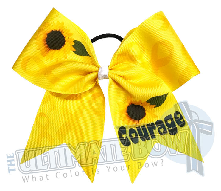 Yellow Ribbon Courage Childhood Cancer Awareness | Rock the Gold for Cancer | September Childhood Awareness Cheer Bow | Yellow Ribbon Cheer Bow
