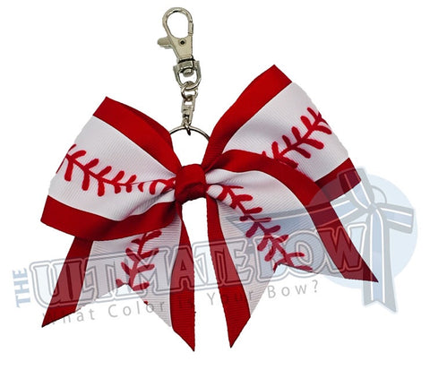 Baseball Laces Key Chain Bow