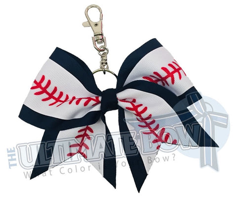 baseball key chain baseball mom keychain navy baseball laces